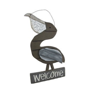 Weathered Wooden Pelican Welcome Sign