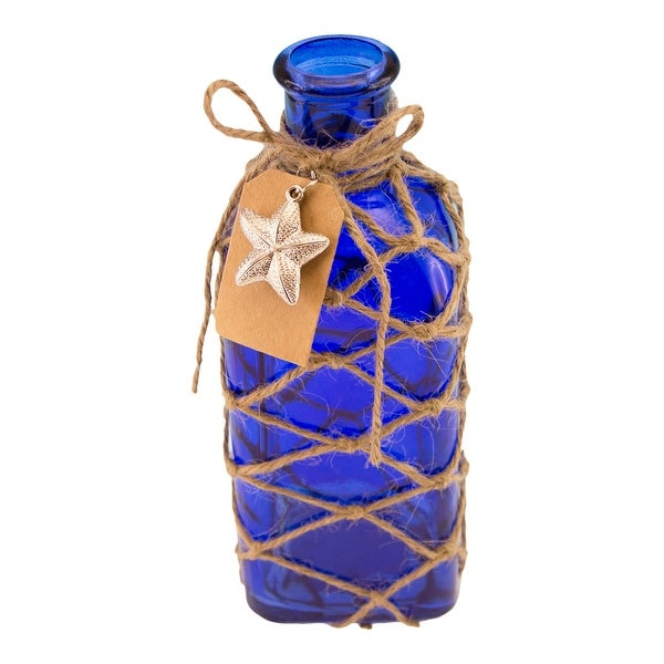 Cobalt Blue Square Bottle with Jute Rope Netting and Starfish Accent