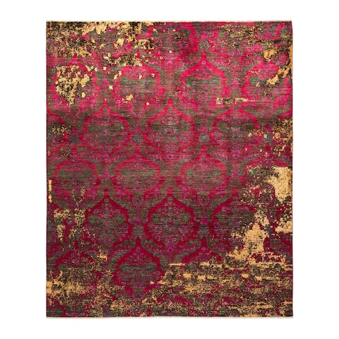 """Eclectic, One-of-a-Kind Hand-Knotted Area Rug - Pink, 8' 4"""" x 10' 0"""" - 8' 4"""" x 10' 0"""""""
