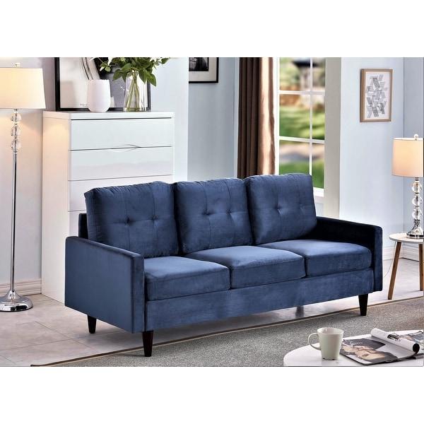 Russal Modern Button-tufted Velvet 3-Seater Sofa. Opens flyout.