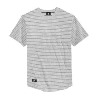 LRG NEW Gray Mens Size Large L Striped Crewneck Chest-Pocket Tee T-Shirt