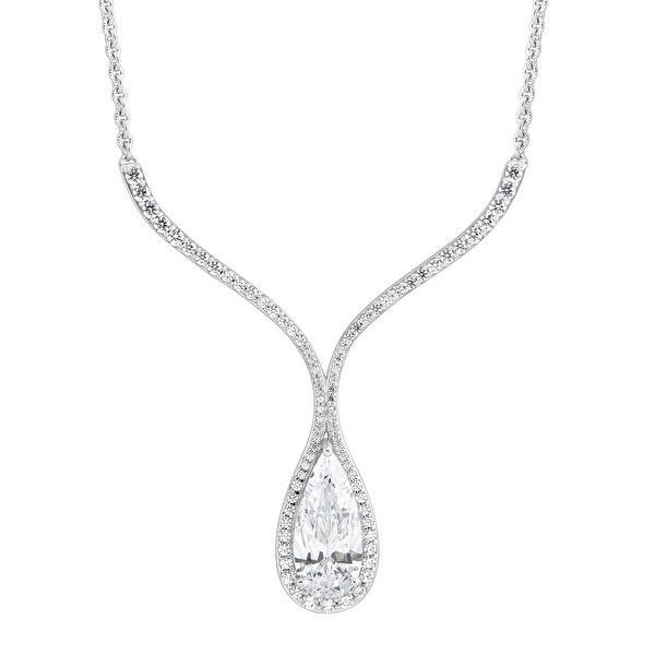 Drop Necklace with White Swarovski elements Zirconia in Sterling Silver