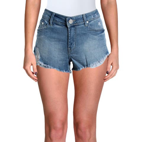 Indigo Rein Womens Juniors Denim Shorts Distressed Step Hem - Blue - 7