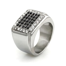 Stainless Steel Ring w/ Clear and Black Cubic Zirconia