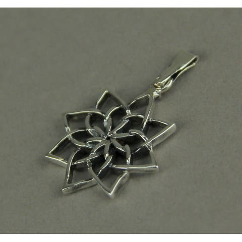 Sterling Silver Open Work Lotus Flower Pendant - 0.75 X 0.75 X 0.13 inches