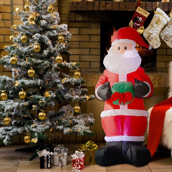 costway 6ft airblown inflatable christmas xmas santa claus decoration lawn yard outdoor