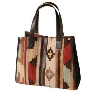 Women's Shoulder Bag - Leather-Trimmed Kilim Shopper Purse - Multicolored - One size