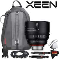 Rokinon Xeen 50mm T1.5 Lens for Canon EF Mount With Professional Lens Backpack and Accessories - black