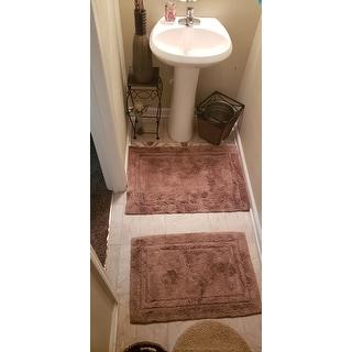 Superior Luxurious Combed Cotton Non-skid Bath Rug Set (Set of 2)