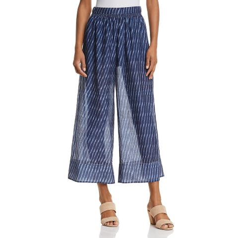 Theory Womens Culottes Printed Sheer - Blue Multi