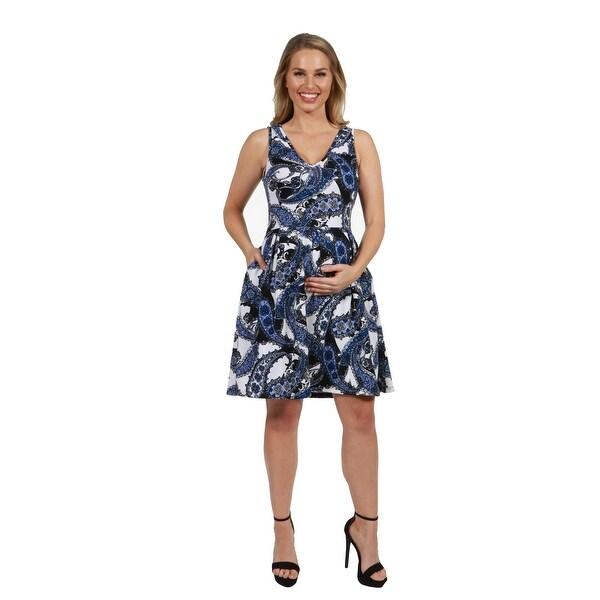 69e4ecbeab Shop 24Seven Comfort Apparel Emi Blue and White Maternity Dress ...