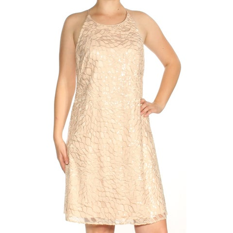 VINCE CAMUTO Womens Pink Sequined Embellished Spaghetti Strap Jewel Neck Knee Length Shift Cocktail Dress Size: 10