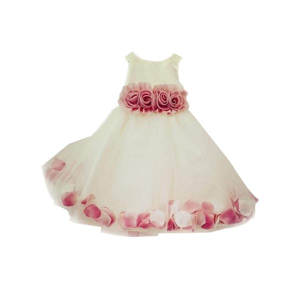 a827ba4de Shop Little Girls White Burgundy 3D Floral Waist Tulle Petal Flower Girl  Dress - Free Shipping Today - Overstock - 28297328