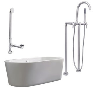 """Giagni LV2 Ventura 67"""" Free Standing Soaking Tub Package - Includes Tub, Tub Feet, Floor Mounted Tub Filler Faucet, and Drain"""