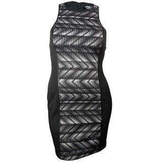 Guess LA Women's Monica Faux Leather Trim Printed Dress