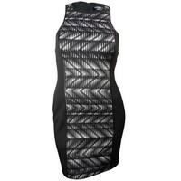Guess LA Women's Monica Faux Leather Trim Printed Dress - Black Multi