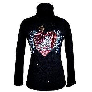 Ice Fire Skate Wear Black Wing Crystal Applique Jacket Girl 4-Women L