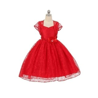 Chic Baby Girls Red Lace Hi-Low Special Occasion Jacket Dress 8-14