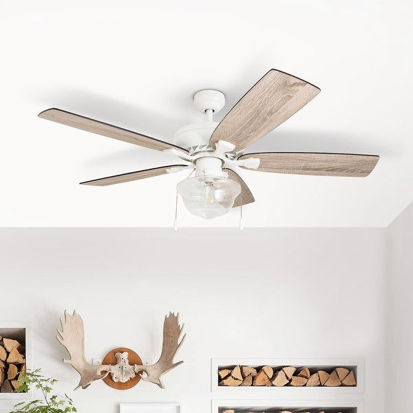 The Gray Barn Langdale 52-inch Coastal Indoor LED Ceiling Fan with Remote Control 5 Reversible Blades - 52. Opens flyout.