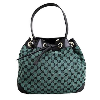 Gucci GG Canvas Drawstring Canvas and Leather Trim Shoulder Bag