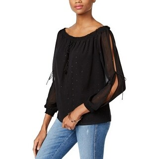 GUESS Toya Off The Shoulder Peasant Blouse Top Jet Black - s