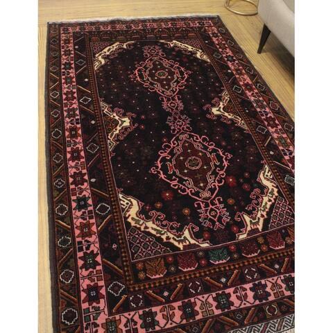 "Noori Rug Vintage Distressed Meyramgu Black/Pink Rug - 4'3"" x 6'11"""
