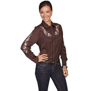 Scully Western Shirt Womens L/S Snap Pearl Embroidery Floral PL-839