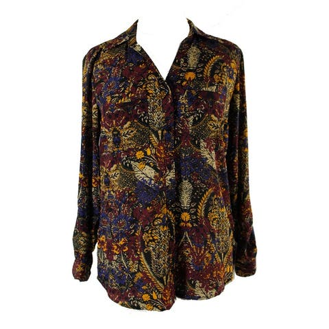 Ny Collection Wine Multi Printed Utility Shirt XS