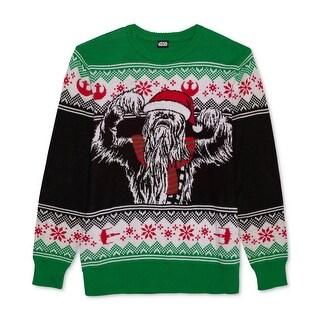 Star Wars Green Mens Size Large L Fair Isle Crewneck Knit Sweater