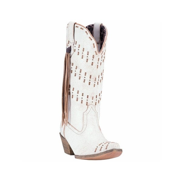 Laredo Western Boots Womens Meredith Buck lace Snip Toe White Tan