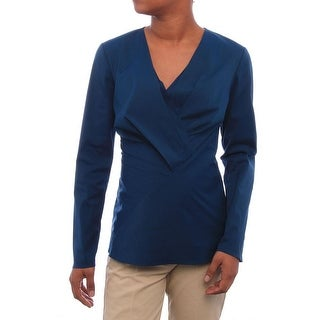 Lafayette 148 New York Long Sleeve V-Neck Blouse Women Regular Blouse