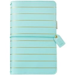 """Blue W/Gold Stripe - Color Crush Faux Leather Travelers' Planner 5.75""""X8"""""""