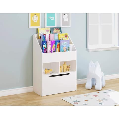 UTEX Kids Bookshelf and Toy Storage Organizer Kids Book Organizer Bookcase Storage for Kids with Rolling Toy Box
