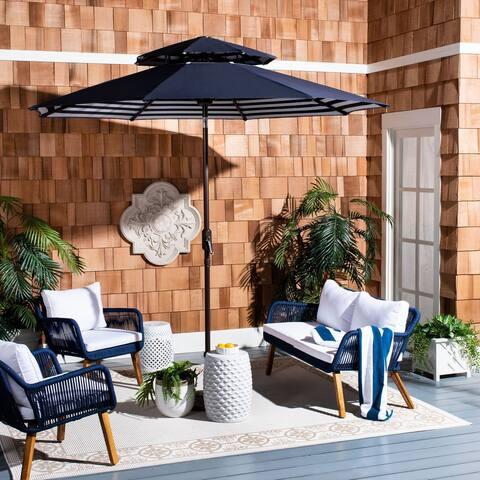 Safavieh Outdoor Living Athens 9Ft Double Top Crank Umbrella