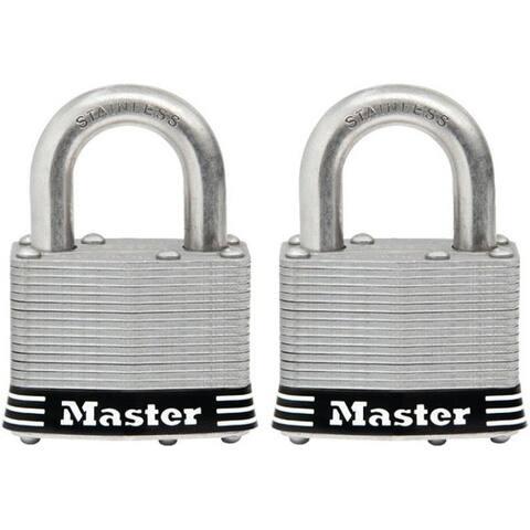 "Master Lock 5SSTHC Laminated Padlock, Stainless Steel, 2"", Set Of 2"