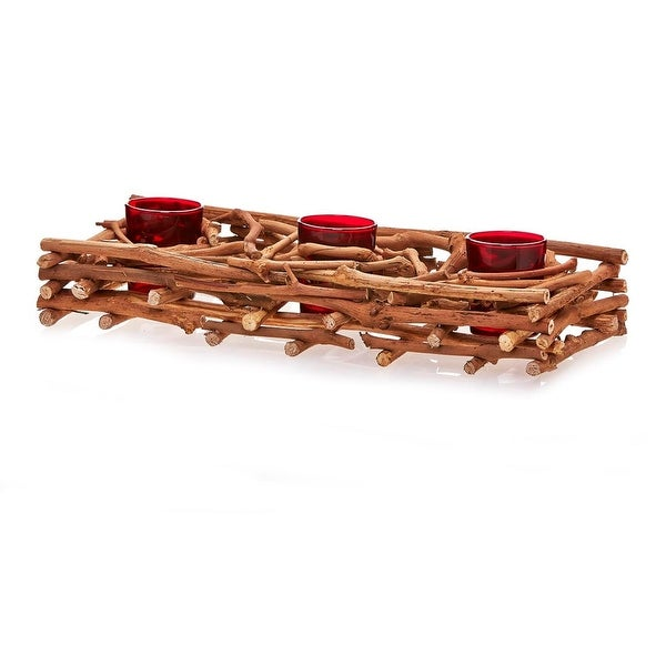 "14.5"" Country Rustic Natural Brown Wood Branch Christmas Triple Candle Holder"