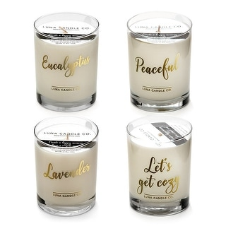 Natural Soy Wax Jar Candles, Lavender and Eucalyptus Scents (Set of 4)