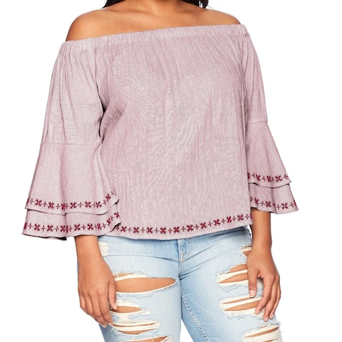 Lucky Brand Red Women Size 1X Plus Embroided Off The Shoulder Blouse
