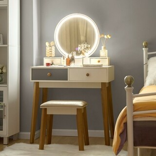Costway Vanity Table Set 3 Color Lighting Modes Makeup Stool Jewelry Divider Ping The Best Deals On Dressers