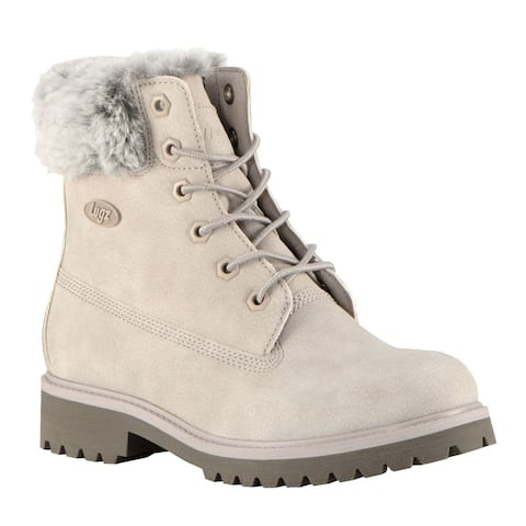 "Lugz Convoy Faux Fur Lace Up Womens Boots Ankle Low Heel 1-2"" - Beige"