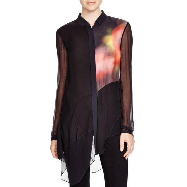 Elie Tahari Womens Button-Down Shirt Silk Printed