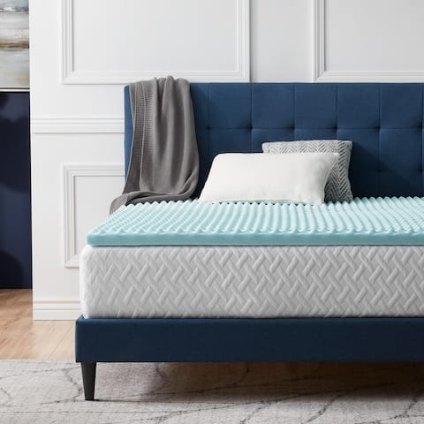 LUCID Comfort Collection Convoluted Gel Memory Foam Mattress Topper - Blue