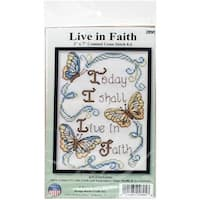 """Live In Faith Mini Counted Cross Stitch Kit-5""""X7"""" 14 Count"""