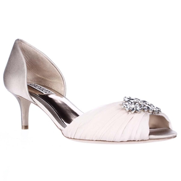 Badgley Mischka Caitlin Peep Toe Jeweled Dress Pumps, Nude - 7 us