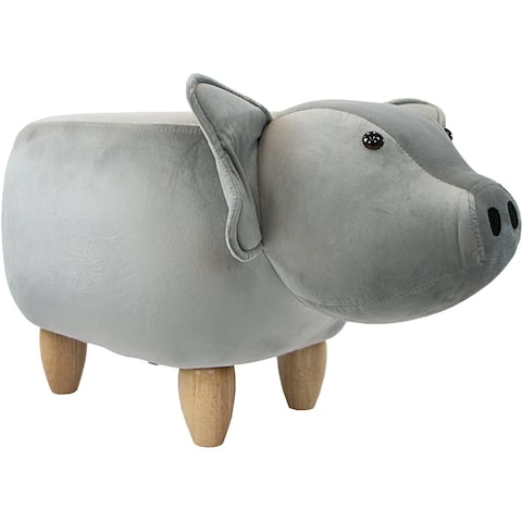 Critter Sitters 15-In. Seat Gray Pig Shape Ottoman Furniture, Nursery, Bedroom, Playroom, Living Room Decor