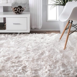 """Link to Silver Orchid Stewart Pearl White Handmade Soft and Plush Silken Solid Shag Runner Rug - 2' 6"""" x 8' Runner - 2' 6"""" x 8' Runner Similar Items in Transitional Rugs"""