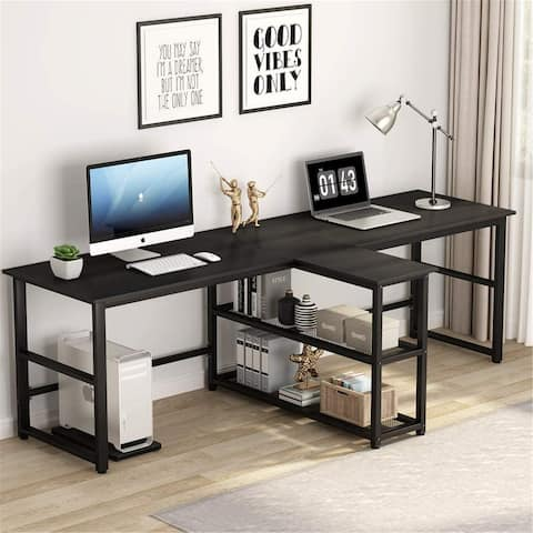 90.5 inch Computer Desk, Extra Long Two Person Desk with Storage Shelves