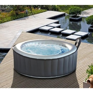 MSPA Alpine Hot Tub, 4 Person Silver Cloud Round Inflatable Bubble Spa / M-011LS