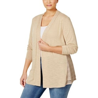NY Collection Womens Plus Cardigan Top Jersey Crochet Inset