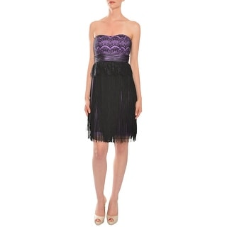 Mikael Aghal Lace Empire Waist Fringed Evening Cocktail Dress